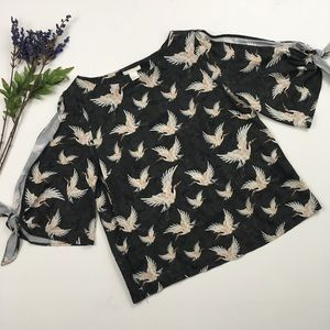 H&M Tops - H&M Crane Bird Stork Cold Shoulder Dolman Top, S